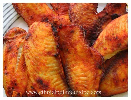 Pakistani Spicy Fish Recipe  Fish8 pieces Egg1 Milk1 cup Whole wheat flour2 cups Salt1 ½ tsp. Black pepper powder¾ tsp. Lemon juice4 tsp. Red chili powder1 tsp. Garlic powder1 tsp. Baking Powder1/8 tsp. Oil6 cups
