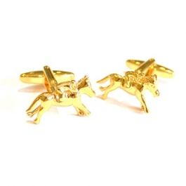 Gold Coloured Horse Racing Cufflinks