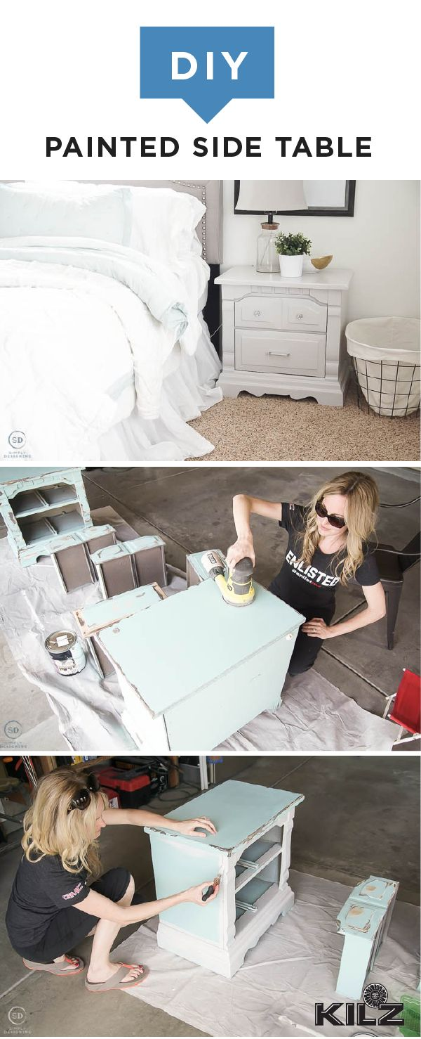 This DIY painted side table from Ashley, of Simply Designing, is an easy home makeover project that you can complete in a weekend. Ashley's farmhouse-chic nightstand got a modern update thanks to a fresh coat of Boardwalk by KILZ Complete Coat Paint & Primer In One. Explore the rest of Ashley's master bedroom refresh to find the full tutorial for this stylish furniture update.
