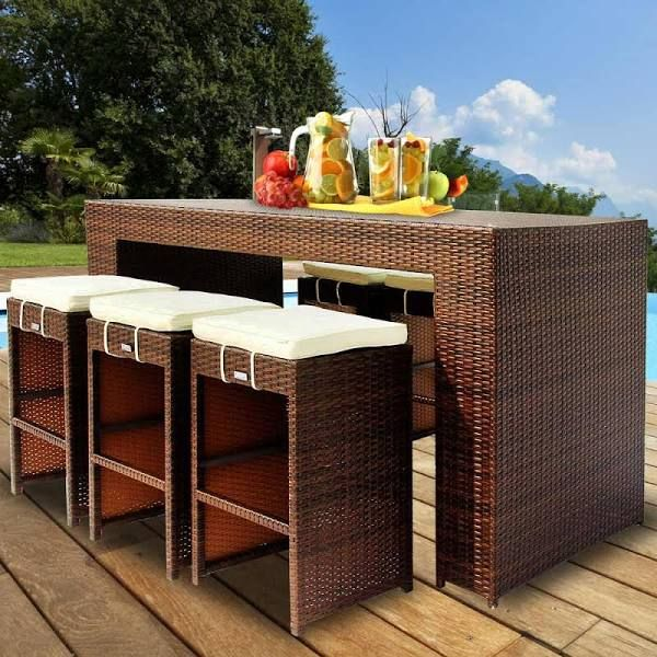 outdoor furniture high table and chairs