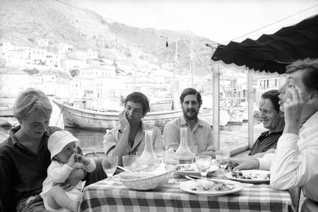 """""""I feel love never dies...""""  Cohen's letter to his muse on her deathbed .  Domestic bliss: Marianne Jensen and Leonard Cohen in Greece with her son, Axel"""