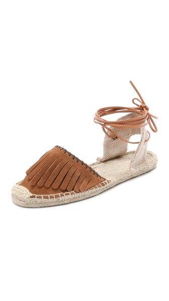Soludos Классические замшевые сандалии с бахромой