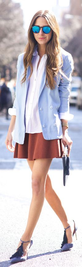 Arielle Nachami is wearing a terracotta skirt from H&M, white button down shirt from Elizabeth and James, baby blue blazer from Armani Exchange, shoes from Manolo Blahnik and the clutch is from GiGi New York