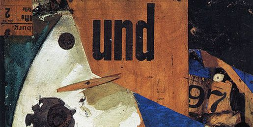 "Kurt Schwitters A collage by German Dada and surrealist artist Kurt Schwitters entitled ""Das Undbild"" from 1919. Schwitters was famous for his collages, called ""Merz Pictures,"" in which he attempted to make coherent artistic sense of the world around him using fragments of found objects."