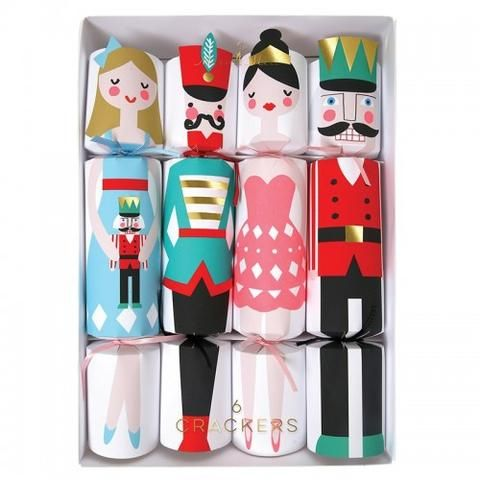 These colorful Christmas crackers are beautifully decorated with Nutcracker characters and each cracker is embellished with shiny silver, gold foil and colored ribbon. Crackers contain a hat, joke and whistle.