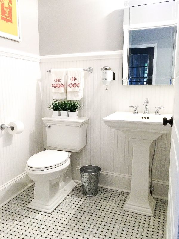 Vintage powder room carrara marble pedestal sink - Powder room sink ideas ...