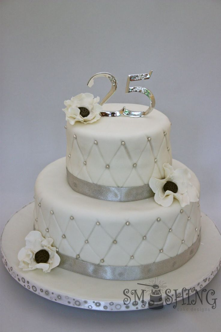 31 Best Silver Wedding Cake Anniversary Cake Ideas Images On Pinterest Silver Anniversary