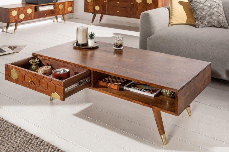 Massiver Couchtisch Mystic Living 117cm Akazie Braun Gold Retro Design Riess Ambiente De In 2020 Couchtisch Wohnzimmertische Couchtisch Design