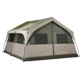 "Camping with a group is a snap with the Field & Stream® Outfitter Cabin 12 Person Tent! This spacious tent features an interior divider that allows you to separate the tent into two ""rooms"" for added privacy. The Element Barrier floor is made of an exceptionally durable oxford polyester that's factory taped and coated to keep you dry during wet weather. The Outfitter Cabin includes a convenient wheeled bag for easy transportation and storage."