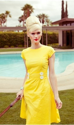 Great dress inspiration from Shaby Apple.  I'm not much of a Canary Yellow kind of gal, but I could easily alter a pattern and make this in a color that doesn't scream Pollyanna meets 1950.