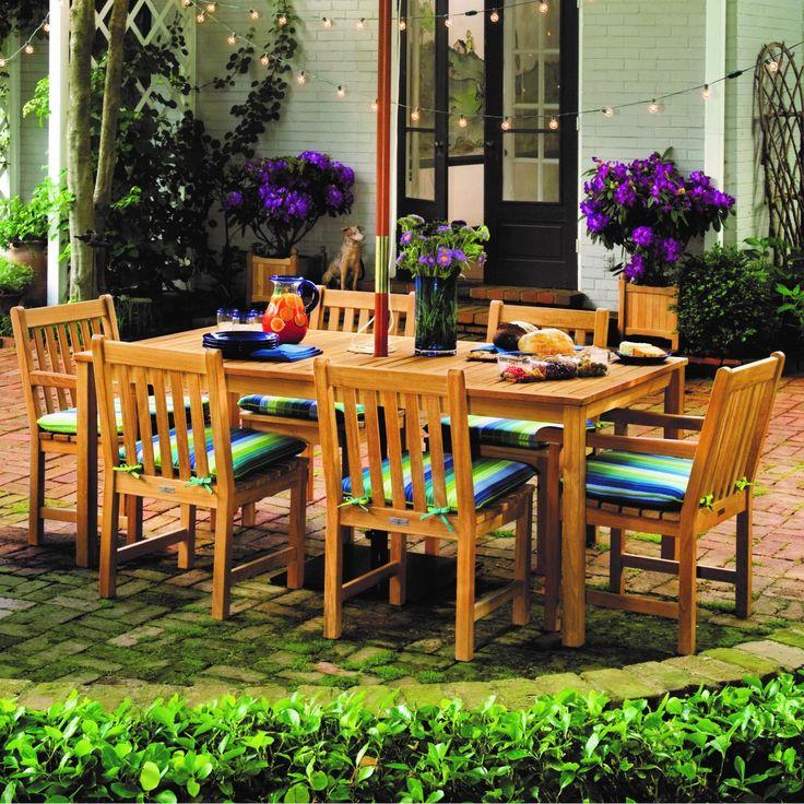 Oxford Garden Hampton 7 Piece Natural Shorea Patio Dining Set W/ 75 3/4 X 40 1/4 Inch Rectangular Table By – CDCH (2) + CDSC (4) + HA76TA