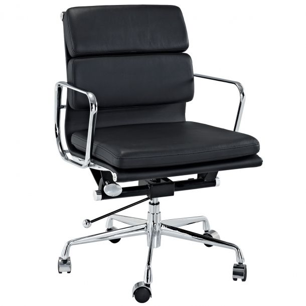 Emma Mid Back Leather Office Chair - Black | Memoky.com