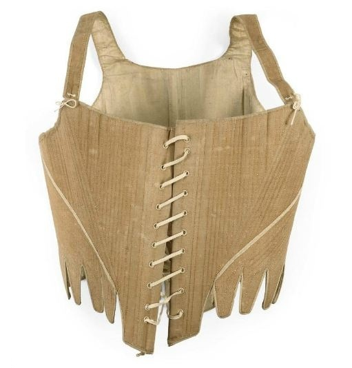 "Corset: 18th century, ribbed linen, ""top stitched in cream linen, trimmed with narrow white braid, bound in white linen herringbone tape, with straps laced to the fronts."""