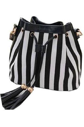 Striped Crossbody Bag With Tassel
