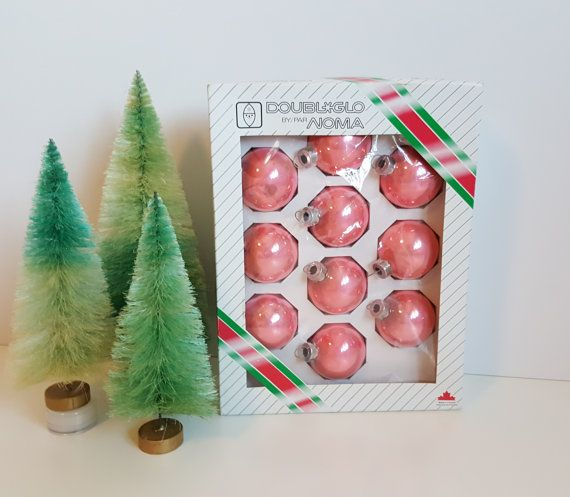 Vintage Set of 10 Pink Glass Round Christmas by RetroEnvy21
