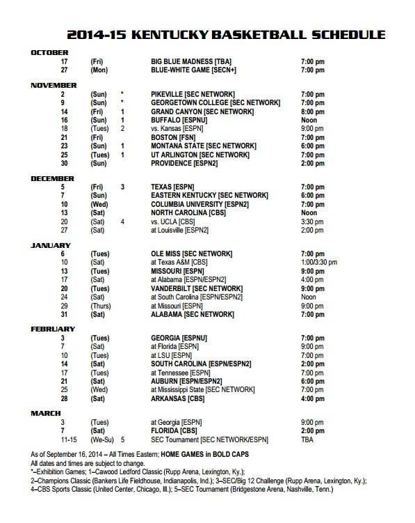 Kentucky finalizes schedule with remaining TV and start times - CoachCal.com