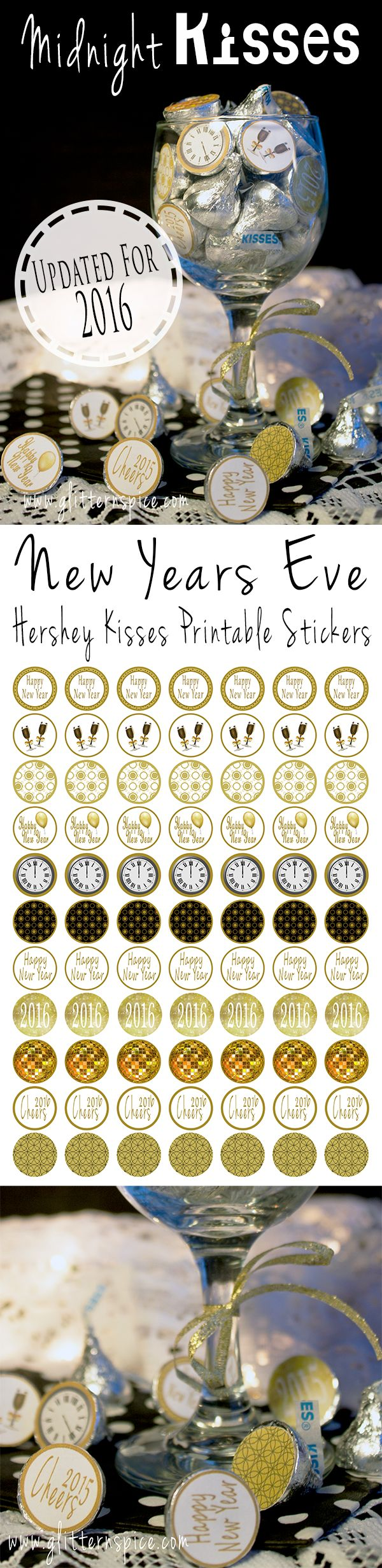 FREE printable New Years Eve Hershey Midnight KissesStickers