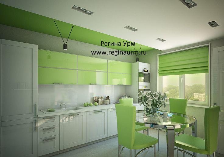 Дизайнер интерьеров - зеленая кухня – дизайн интерьеров