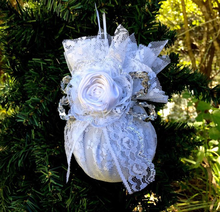 Wedding Christmas ornament, first Christmas, wedding gift, vintage Christmas, silver Christmas decorations, shabby chic Christmas ornament by sunshowerflowers on Etsy https://www.etsy.com/listing/253173246/wedding-christmas-ornament-first