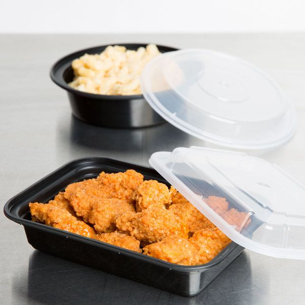 "Newspring NC-8168-B 16 oz. Black 5"" x 7 1/4"" x 1 1/2"" VERSAtainer Rectangular Microwavable Container with Lid - 150/Case"