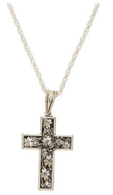 Sterling Silver Dogwood Cross Pendant Necklace