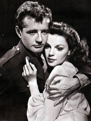 """Publicity still from """"The Clock"""" starring Robert Walker & Judy Garland. This was Judy's first dramatic film. The film's WWII storyline was especially pertinent given it's May 1945 release."""