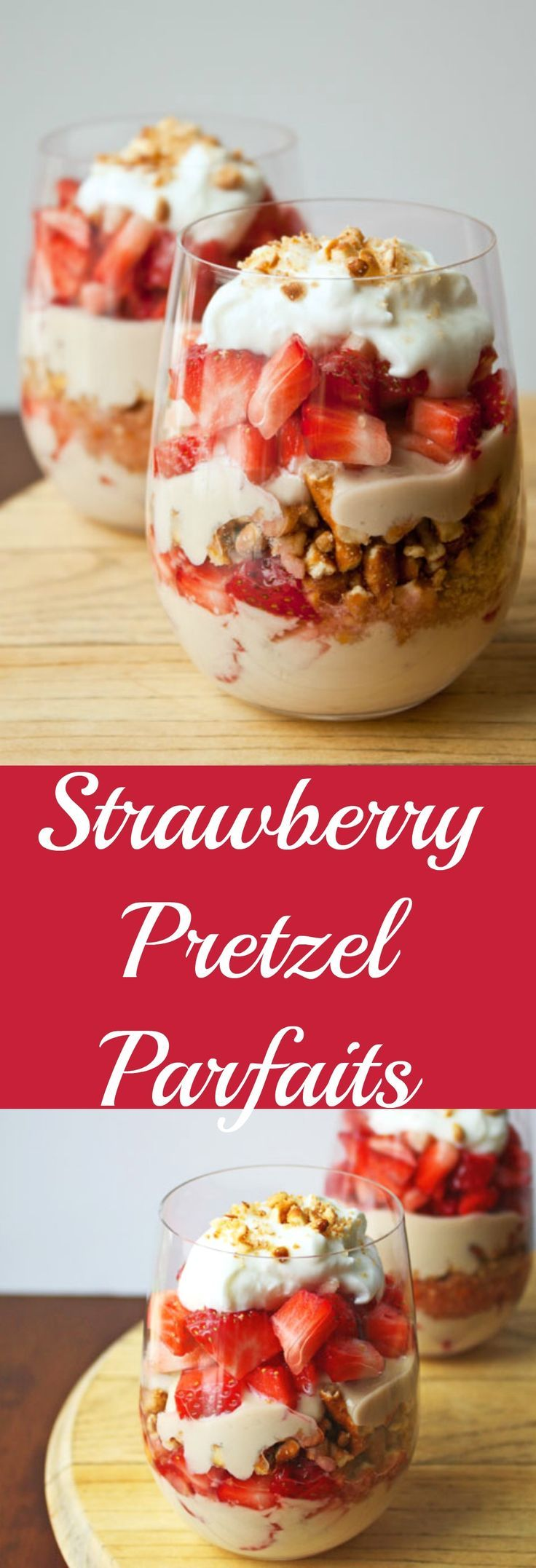 Visita: https://clairessugar.blogspot.com.es/ para recetas paso a paso con vídeos divertidos y fáciles!  ^^ Strawberry Pretzel Salad in parfait form. Serves two