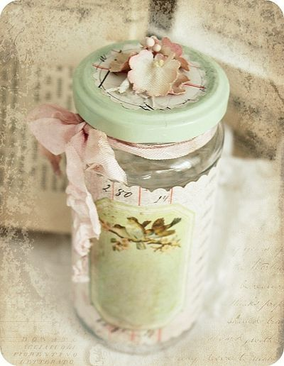 Ohhhh so shabby chic and gorgeous is this altered jar with the lovely vintage image on lovely papers, the touch of flowers on the lid and the lovely seam binding ribbon to give it that special shabby chic finish. This photo is from elfenpulver and can be found on LilyBean Paperie. ♥ Love ♥