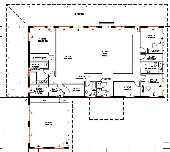 40x80 floor plan home building pinterest awesome for Two story metal building homes floor plans