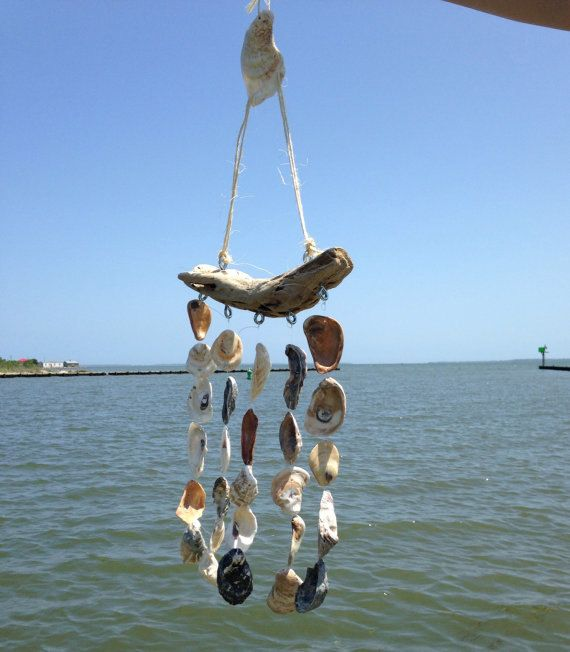 Oyster Shell Windchime Sea Shell Wind Chime by TheBayfrontCottage