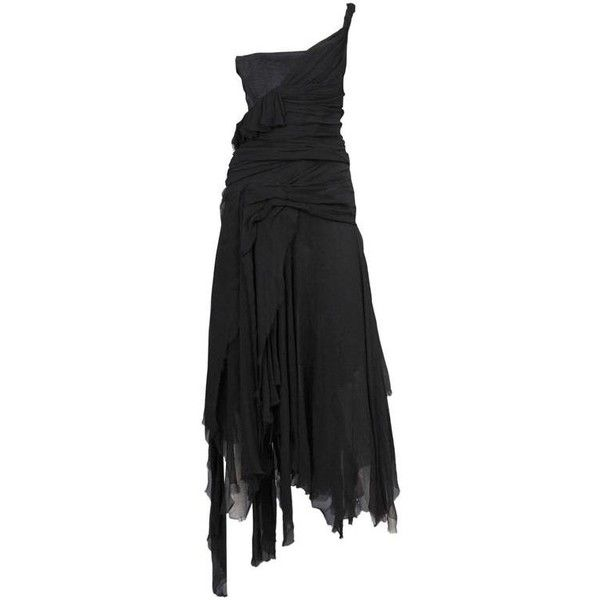 Preowned Alexander Mcqueen Black Chiffon Ruched Dress 2002 ($2,000) ❤ liked on Polyvore featuring dresses, black, rouched dress, shirring dress, shirred dress, vintage corset dress and vintage dresses
