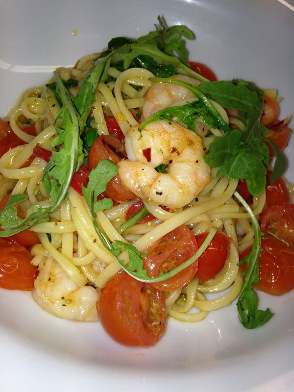Linguine with tiger prawns and rocket recipe