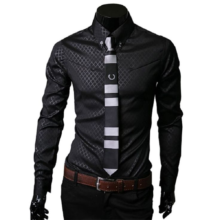 Camisas Social Masculinas 2016 New Mens Slim Shirt Dark Plaid Shirts For Men Long Sleeve Business Formal Shirt Large Size 5XL #CLICK! #clothing, #shoes, #jewelry, #women, #men, #hats, #watches