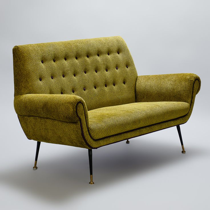 Mid Century Italian Tufted Velvet Settee in the Manner of Marco Zanuso  --  Circa late 1950s /early 1960s small sofa / settee found in Italy with iconic Zanuso style elements including a high, button tufted back, curvy rolled arms and narrow iron and brass feet. Newly upholstered in pistachio green cut velvet with contrasting amethyst welting.  --  Item:  7234  --  Price:   $3895