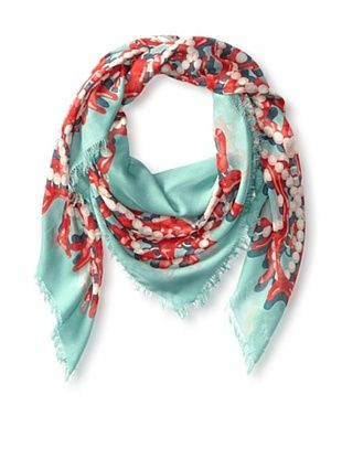 62% OFF Kenneth Jay Lane Women's Coral & Pearls Square Scarf, Teal Multi