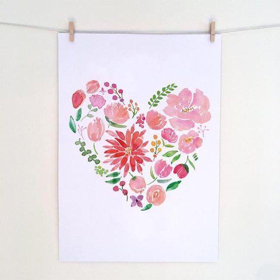 Heart Peonies Watercolour Dahlia Peonies Botanical print
