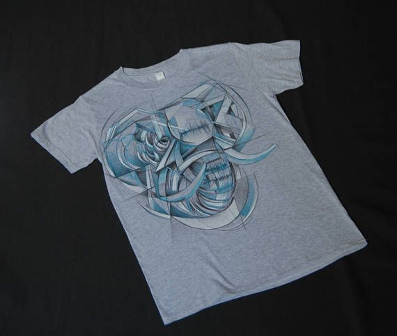 Wavelephant hand-painted t-shirt abstract geometry