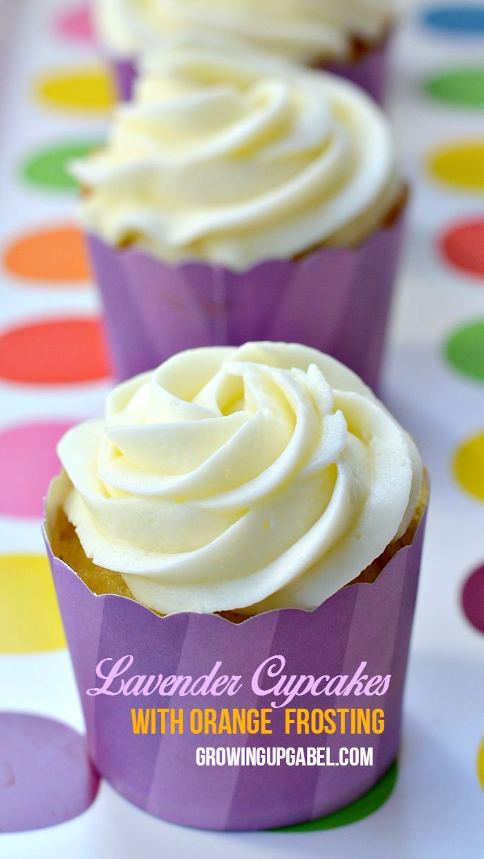 Looking for a unique dessert for Easter or Mother's Day? Turn plain vanilla in to lavender cupcakes with essential oils. The orange frosting pairs perfectly with this uniquely flavored cupcake recipe.
