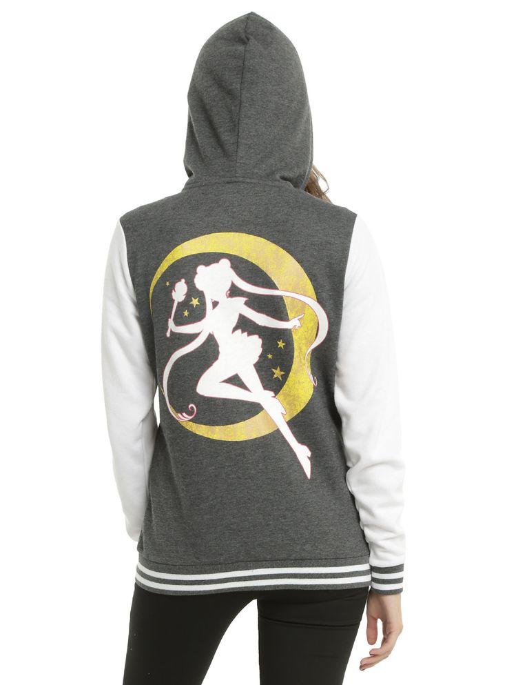 Sailor Moon Logo Varsity Girls Hoodie, HEATHER GREY, hi-res