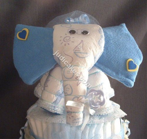 baby shower elephant theme diaper cake decorations jungle safari blue for boys diapering gift. Black Bedroom Furniture Sets. Home Design Ideas