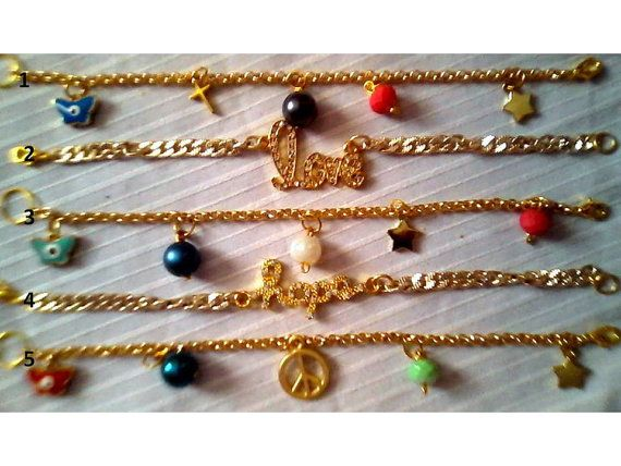 Chain charm bracelets in gold tone by KaterinakiJewelry on Etsy, $7.00