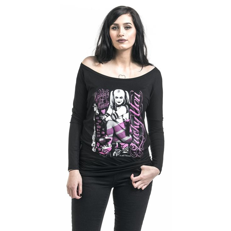 "Maglia donna a maniche lunghe ""Harley Quinn - Lucky You"" di #SuicideSquad."