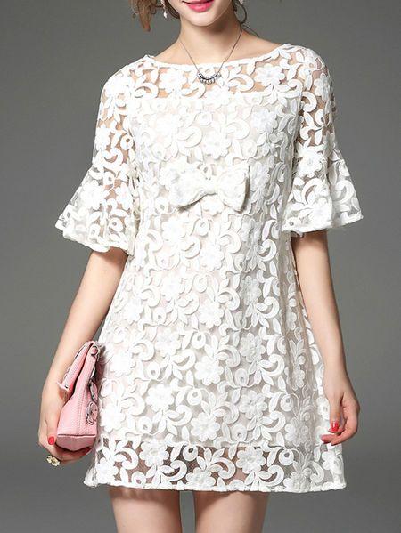 Embroidery Mesh Bow Mini Dress