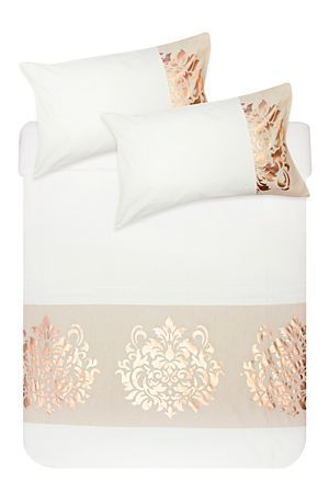 "This duvet cover set is made from a soft 144 thread count polycotton. With a foil damask design, this set will create an elegant look in any feminine bedroom. Single and three quarter include 1 standard pillowcase, double, queen, king include 2 standard pillowcases.<div class=""pdpDescContent""><BR /><BR /><b class=""pdpDesc"">Fabric Content:</b><BR />50% Polyester 50% Cotton<BR /><BR /><b class=""pdpDesc"">Wash Care:</b><BR>Lukewarm machine wash</div>"
