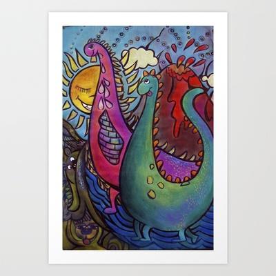 Dinosaur Art Print by Valerie Parisius - $ www.valerieparisius.com