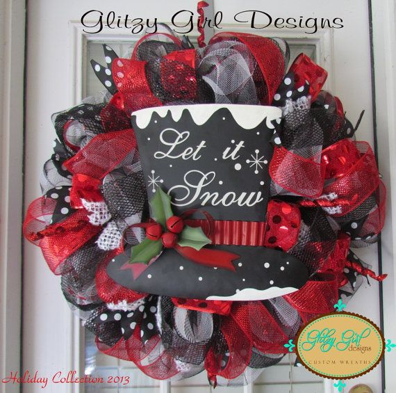 Let is Snow Christmas deco mesh wreath on Etsy, $110.00