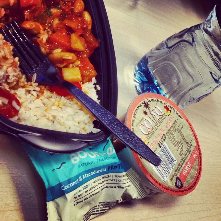 Coyo, bounce ball and veggie Spanish stew from Whole Foods - perfect desk lunch