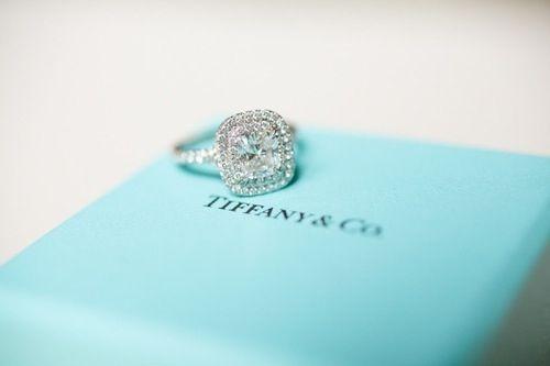 Tiffany & Co, cushion cut diamond halo