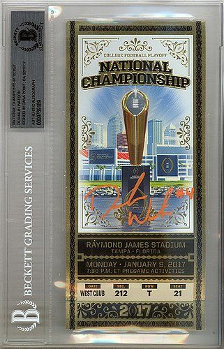 Deshaun Watson Autographed Signed National Championship 2017 Ticket Clemson Tigers - Beckett Certified  Hand-Signed by Deshaun Watson  Authenticated by Seller  Certified Deshaun Watson Signature  100% Money Back Guarantee  Authentic Deshaun Watson Signed Sports Memorabilia