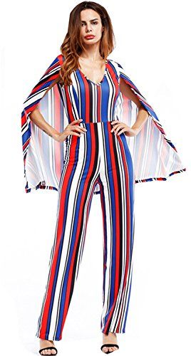 f3e84a549aa3 Arctic Cubic Cloak Poncho Cape Style Highwaist Deep V Neck Striped  Colorblock Wide Leg Pants Jumpsuit Playsuit